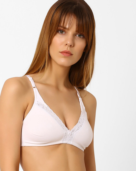 Non-Padded Bra With Lace Inserts By Zivame ( White )