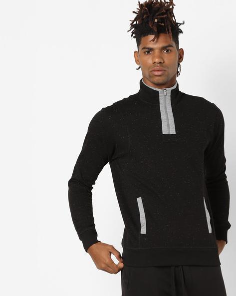 Zip-Front Fleece Sweatshirt By AJIO ( Black )