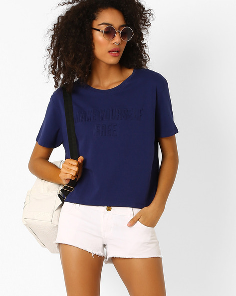 Short Cotton Top With Embossment By Teamspirit ( Navy )