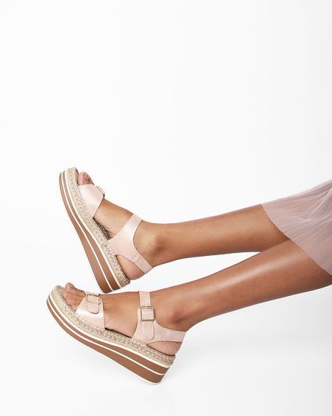 Textured Strappy Wedge-Heeled Sandals By AJIO ( Rosegold )