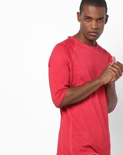 Raglan T-shirt With Raw Hems By Blue Saint ( Red )