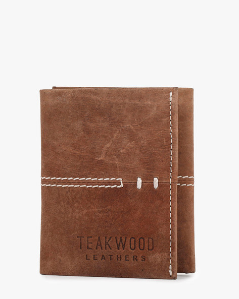 Tri-Fold Genuine Leather Wallets By TEAKWOOD LEATHERS ( Brown )