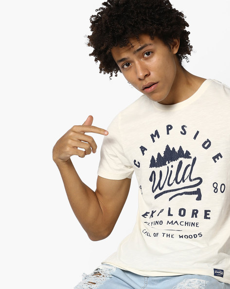 Crew-Neck Slim T-shirt With Typographic Applique By FLYING MACHINE ( White )
