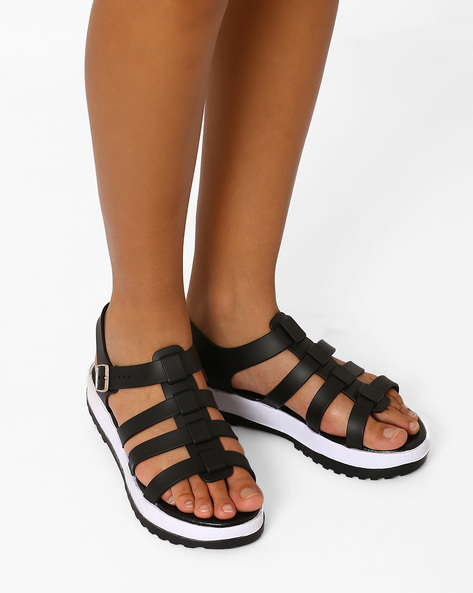 Strappy Jelly Flatforms With Buckle Closure By AJIO ( Black )