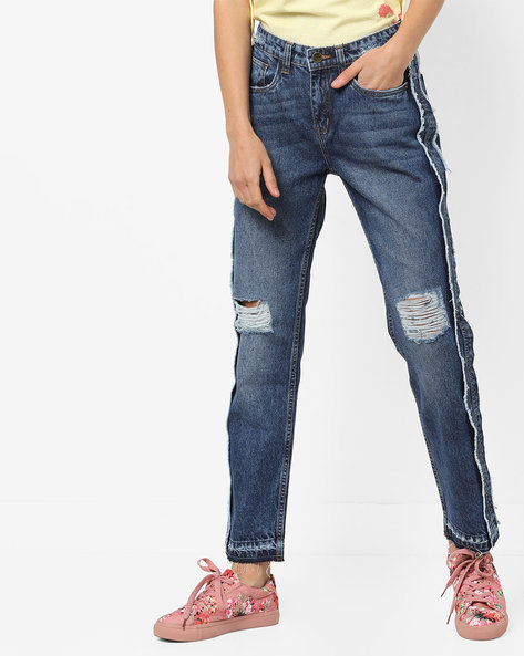 Distressed Slim Fit Jeans With Frayed Panels By AJIO ( Darkblue )