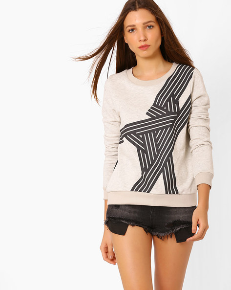 Printed Sweatshirt With Ribbed Hems By Vero Moda ( Grey )