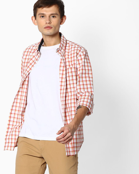 Checked Shirt With Curved Hem By INDIAN TERRAIN ( Red )
