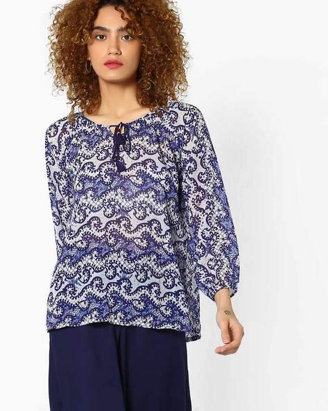 Printed Top With Vented Hemline By Global Desi ( Printed )