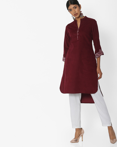 High-Low Kurta With Contrast Sleeve Hems By Biba ( Maroon )