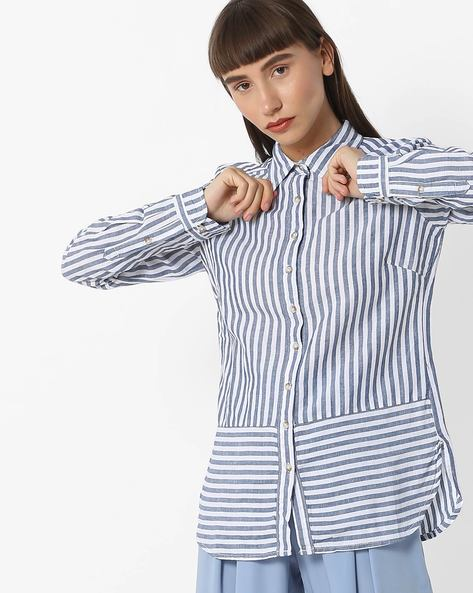 Striped Shirt With Full Sleeves By FIG ( Blue )