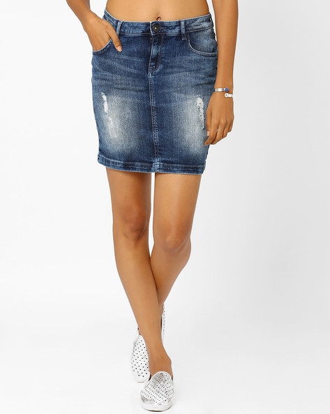 Lightly Washed Skirt By SF Jeans By Pantaloons ( Blue )