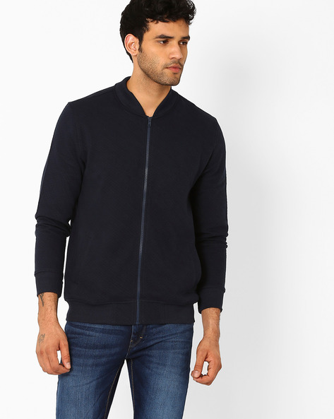 Extra Slim Sweatshirt With Zip-Front By JOHN PLAYERS ( Blue )