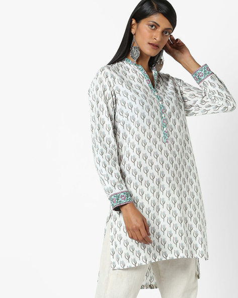 Floral Print Kurta With Notched Round Neck By Biba ( Offwhite )