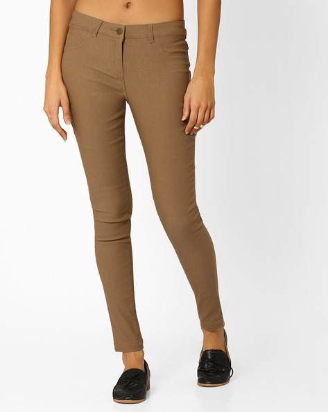 Skinny Flat-Front Trousers By Honey By Pantaloons ( Khaki )