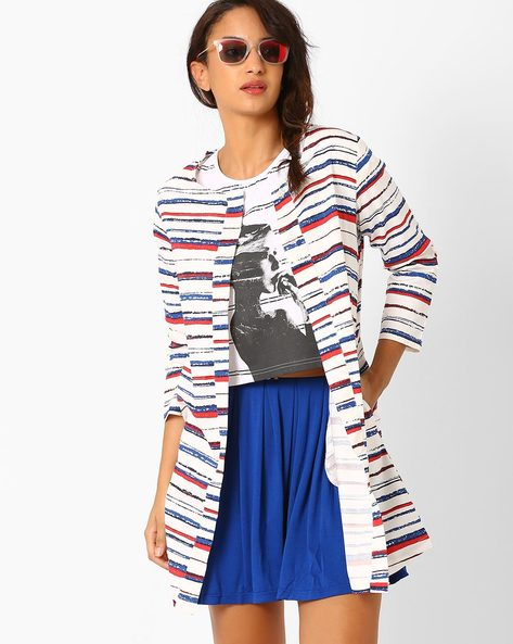 Striped Open-Front Jacket By AJIO ( Offwhite )