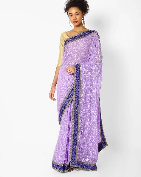 Woven Saree With Embroidered Border By Majestic Silk ( Purple )