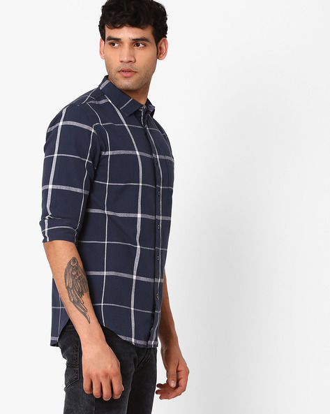 Regular Fit Checked Shirt By Blue Saint ( Blue )
