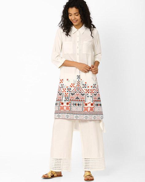 Printed Shirt-Style Kurta By Global Desi ( Multi )