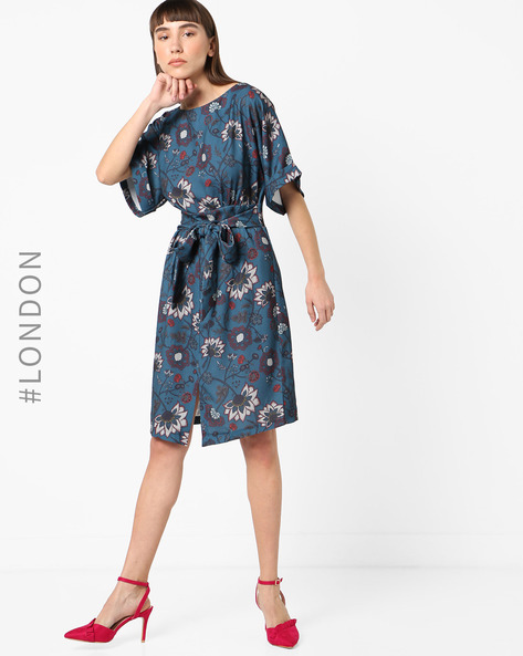 Floral Print A-line Dress With Kimono Sleeves By Closet London ( Multi )