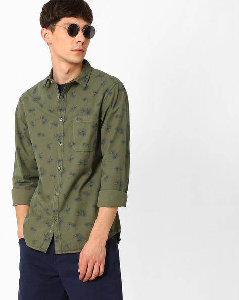 Dandelion Print Slim Fit Shirt By AJIO ( Blue )