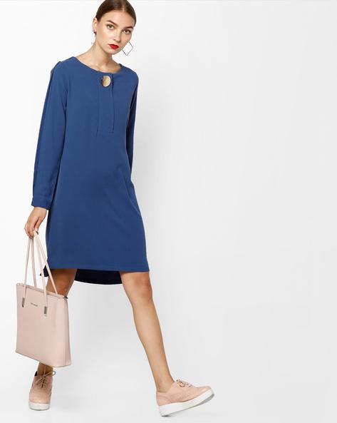 Full-Sleeved Shift Dress With Step Hemline By AJIO ( Navyblue )