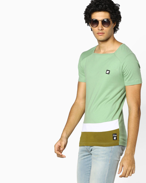 Panelled T-shirt With Square Neckline By KULTPRIT ( Green )