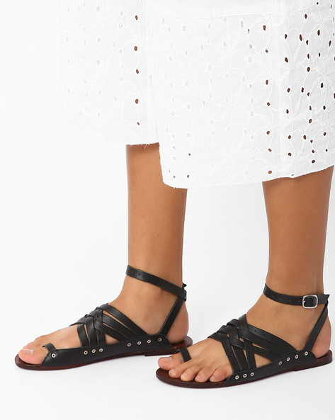Genuine Leather Strappy Sandals By Inara ( Black )
