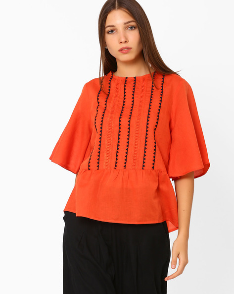 Peplum Top With Batwing Sleeves By Rena Love ( Orange )