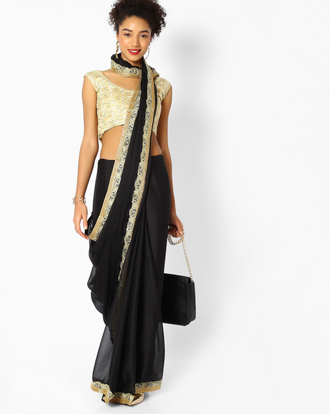 Embroidered Saree With Contrast Border By Majestic Silk ( Black )