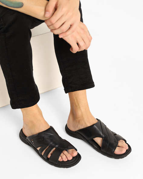 Genuine Leather Strappy Sandals By RED CHIEF ( Black )