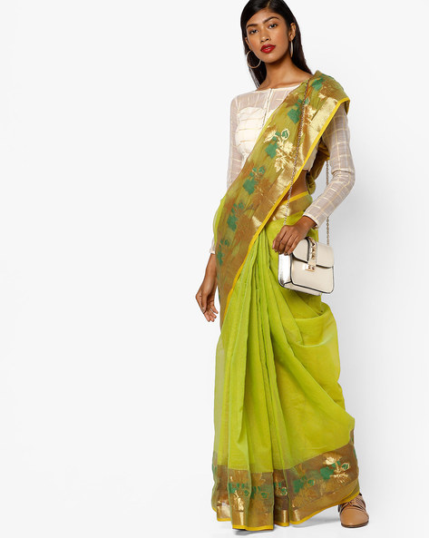 Net Saree With Zari Border By Ishaya ( Green )