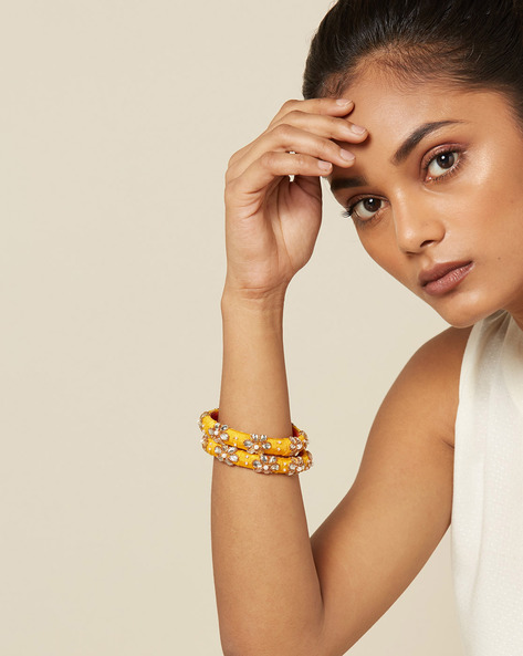 Pure Silk Hand-Embroidered Bangle Set By PADMAHASTHA ( Yellow )