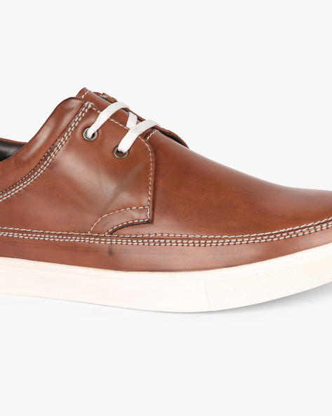 Lace-Up Sneakers With Stitch Detail By SAN FRISSCO ( Brown )