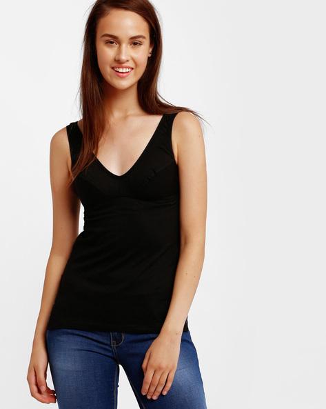 V-neck Cotton Camisole By Floret ( Black )