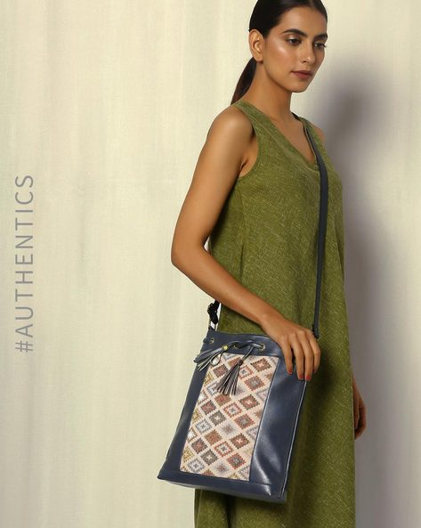 Handwoven Ikat Vegan Leather Sling Bag By A BIG INDIAN STORY ( Blue )