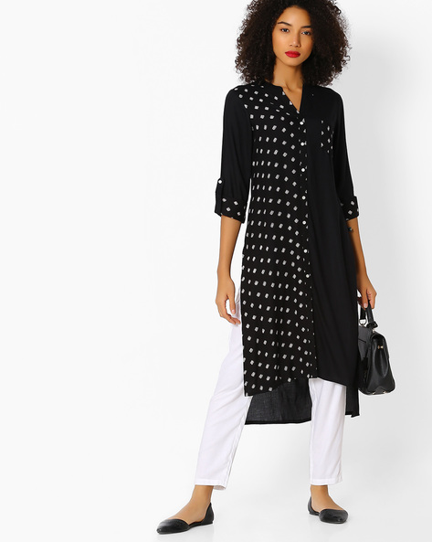 Printed Straight Kurta With Front-Slit Hem By AVAASA MIX N' MATCH ( Black )