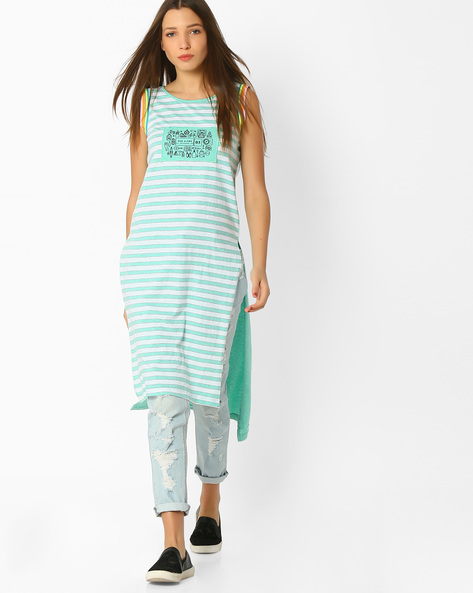 Striped Tunic With High-Low Hem By TEAM SPIRIT ( Green )