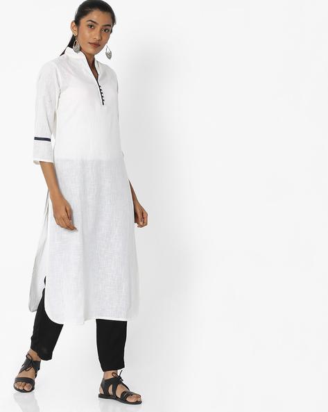 Straight Kurta With Mandarin Collar By Desi Fusion ( White )