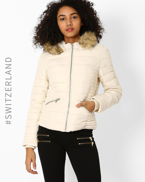 Quilted Jacket With Fur Trim Hood By TALLY WEiJL ( Beige )