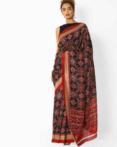 Printed Saree With Contrast Border By Pihu ( Red )