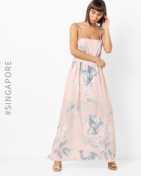 Floral Print Strappy Maxi Dress By MDS ( Multi )