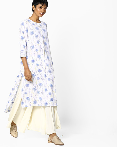 Floral Print Kurta With High-Low Hem By PE IW Casual ( Offwhite )