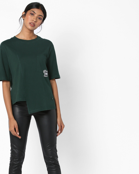 Crew-Neck T-shirt With Asymmetrical Hem By Only ( Dkgreen )