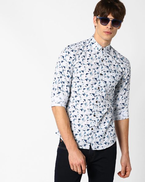 Kellen Geometric Print Slim Shirt By WRANGLER ( White )