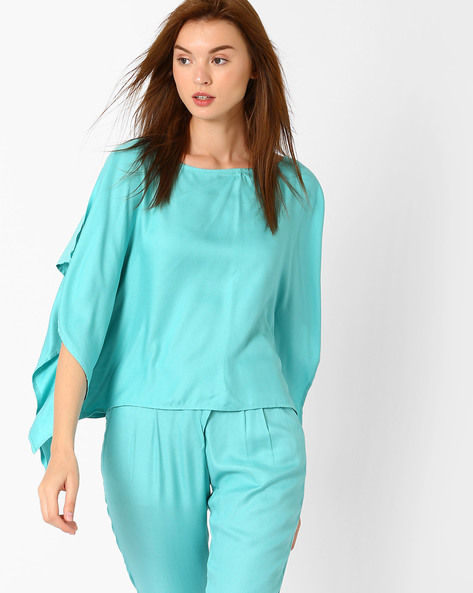 Top With Kimono Sleeves By AJIO ( Blue )