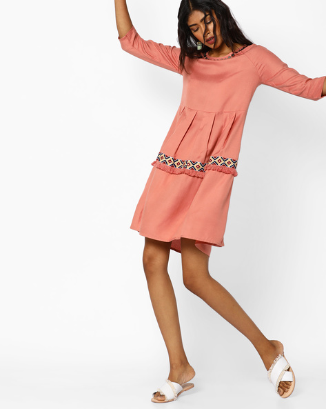 Panelled Dress With Pleats By AJIO ( Pink )
