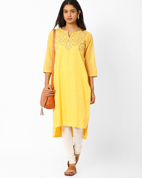 High-Low Kurta With Embroidery By Biba ( Yellow )