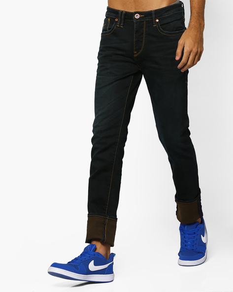 Lightly Washed Slim Tapered Jeans By FLYING MACHINE ( Multicolor )