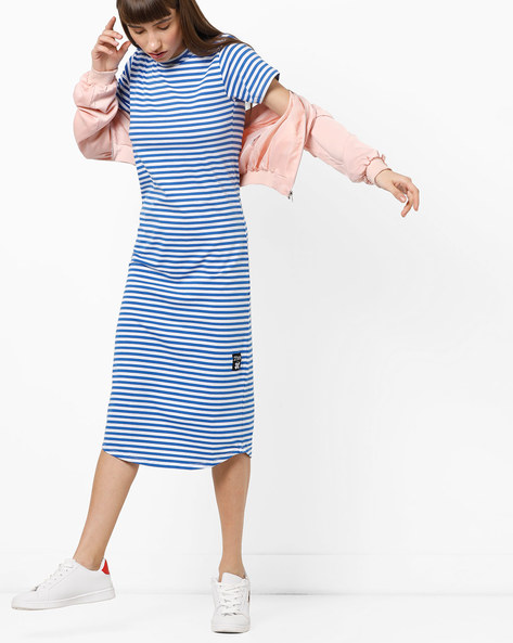 Striped Midi Dress With Back Cut-Outs By KULTPRIT ( White )