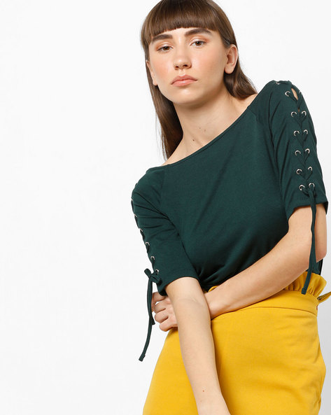Off-Shoulder Top With Criss-Cross Tie-Ups By CODE By Lifestyle ( Green )
